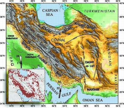 map of iranian plateau.  of Arabia relative to Eurasia causes the Iranian plateau to be deformed.