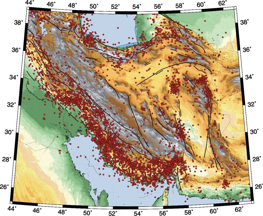 map of iranian plateau. Image of Iranian plateau. These are examples of various geohazard phenomena
